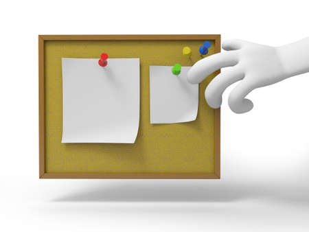 A 3d hand reaching for the notes  message  file photo
