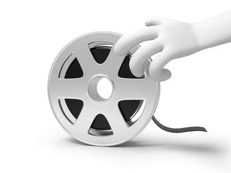 A 3d hand reaching for the film photo