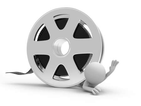 A 3d people pressed by the film Stock Photo