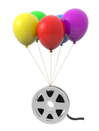 Balloons film video yellow red purple green blue