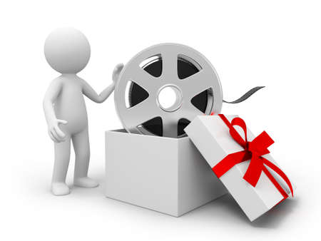 reels: A 3d people  the film in the gift box Stock Photo