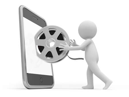 3d film: A 3d people taking the film from the mobile phone Stock Photo