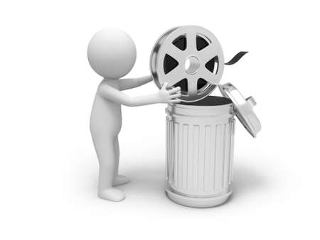 film industry: A 3d people throwing the film into the dustbin Stock Photo