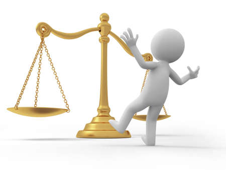 small scale: A 3d person surprised by a scale justice Stock Photo