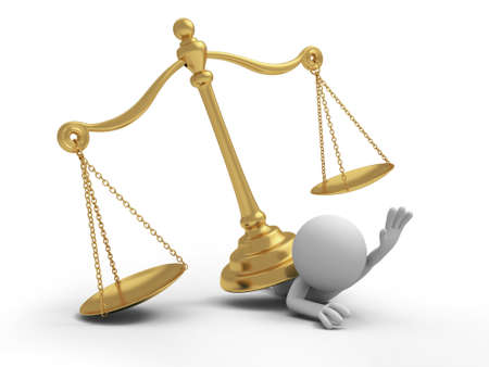 dilemma: A 3d person pressed by a scale law Stock Photo
