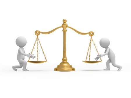 balanza en equilibrio: Dos personas 3d poner algo en las placas de escala