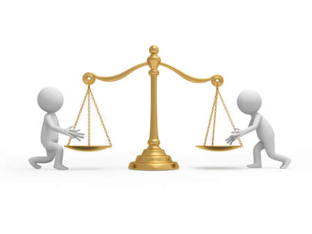 imbalance: Twee 3d mensen om iets op de schaal platen Stockfoto