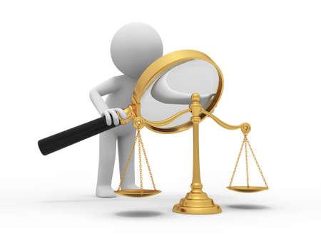 balanza justicia: Una persona 3d que mira una escala con una lupa