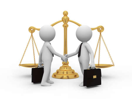 civil law: Two businessmen shaking their hands, a scale background
