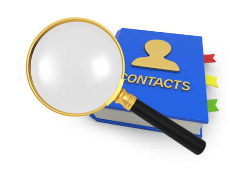 contact page: An address book  a magnifying glass contact Stock Photo