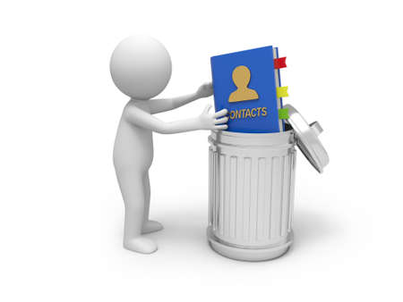 A 3d people throwing an address book into a garbage can Stock Photo