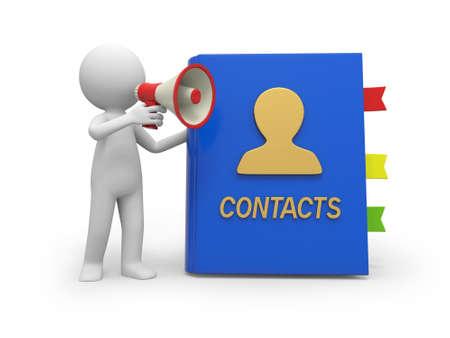 directorio telefonico: Un pueblo 3d hablando con un altavoz, un fondo de la libreta de direcciones