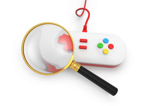 A gamepad a magnifying glass  game play photo