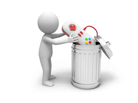 A 3d people throwing a gamepad into a garbage can photo