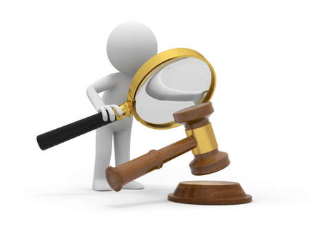 fairness: A 3d people watching the hammer with a magnifying glass