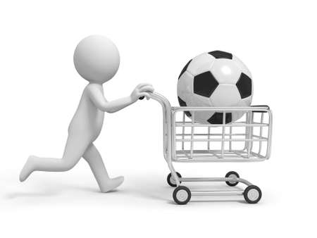 trolley: A 3d person  a football in the shopping cart