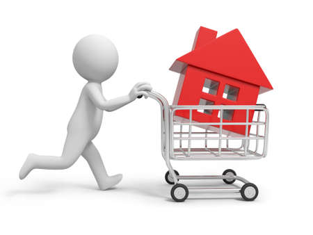 A 3d person  a house in the shopping cart Stock Photo