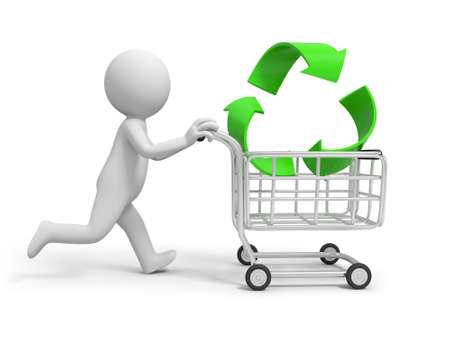 small business concept: A 3d person  a recycling symbol in the shopping cart Stock Photo