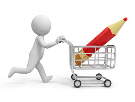 purchase icon: A 3d person a pencil  in the shopping cart Stock Photo