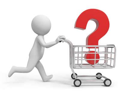 mujer en el supermercado: A 3 ª persona un signo de interrogación en la cesta de la compra Foto de archivo
