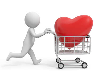humourous: A 3d person a red heart in the shopping cart