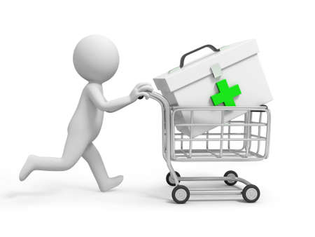 firstaid: A 3d person a first-aid case in the shopping cart