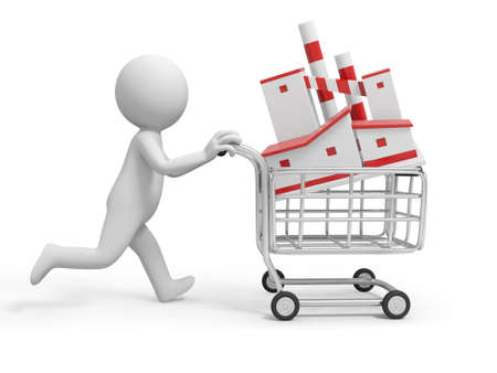 small business concept: A 3d person  a factory model in the shopping cart