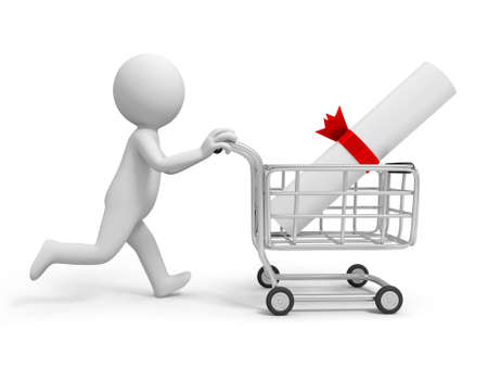 A 3d person a contract in the shopping cart Stock Photo - 21301241