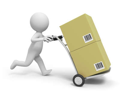 supermarket shopper: A 3d person cart box shopping transport