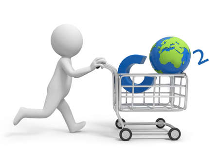 A 3d person pushing a cart  a global in the cart photo
