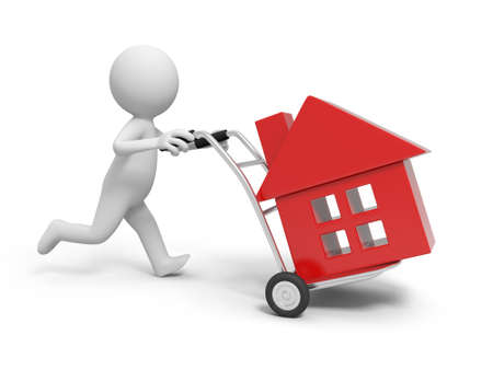 A 3d person pushing a cart  a house in the cart photo