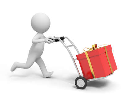 A 3d person pushing a cart  a gift box in the cart photo