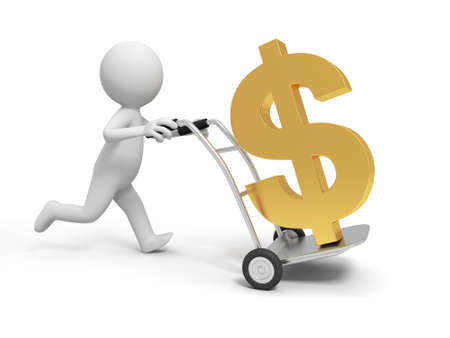 A 3d person pushing a cart  a dollar symbol in the cart photo