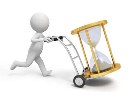 A 3d person pushing a cart  an hourglass in the cart photo