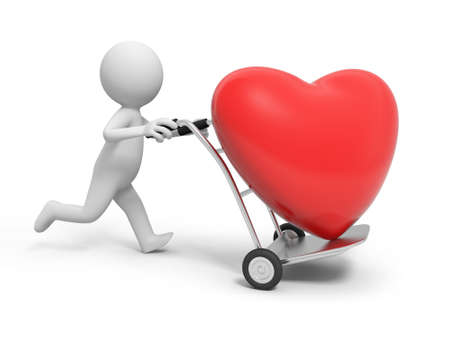 A 3d person pushing a cart  a red heart in the cart photo