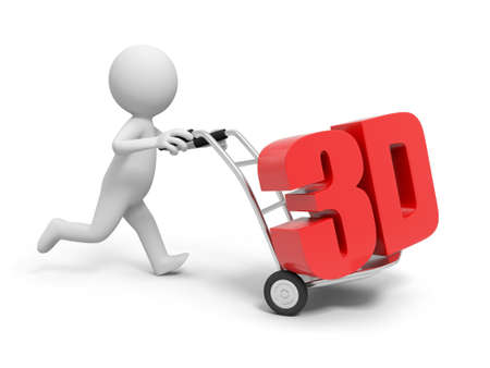 A 3d person pushing a cart  a 3d word in the cart photo