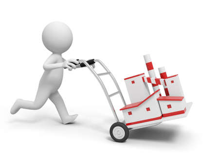 A 3d person pushing a cart a factory model  in the cart Stock Photo - 21301284