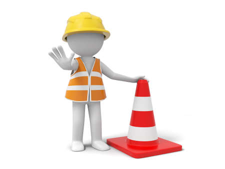 road worker: A 3d person stopping the people with a roadblock