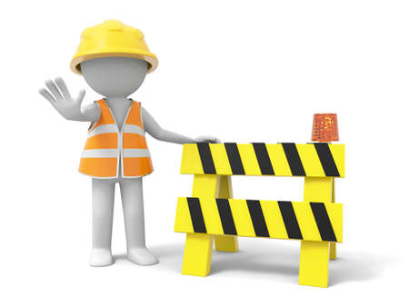 A 3d person stopping the people with a roadblock photo