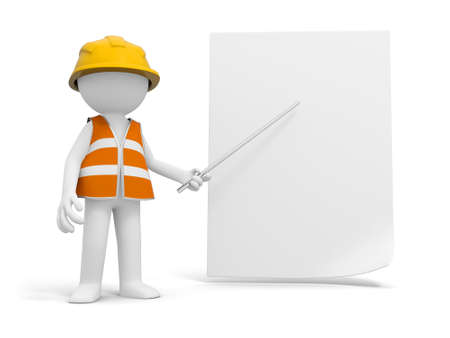 A 3d safety worker pointing at the paper with a stick photo
