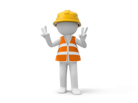 site: A 3d safety worker making a gesture