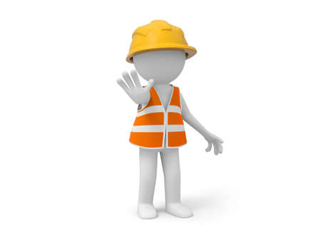 A 3d safety worker making a STOP gesture photo