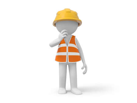 A 3d safety worker standing  safety worker photo