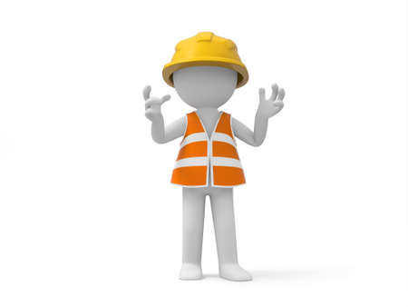 foreman: A 3d safety worker standing  safety worker