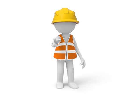 pardon: Un travailleur 3d de sécurité pointant à l'avant