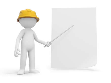 3d small people: A 3d safety worker pointing at the paper with a stick Stock Photo