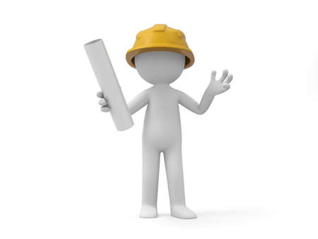 protective clothing: A 3d safety worker holding something in hand Stock Photo