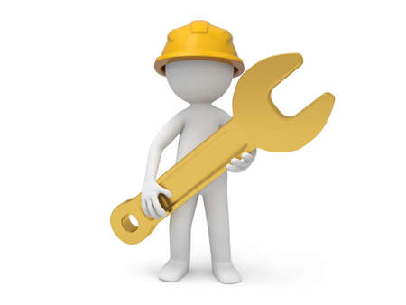 A 3d safety worker holding a spanner in hands