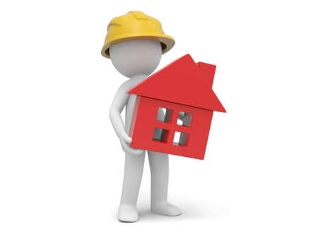A 3d worker holding a house model photo