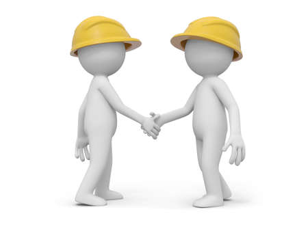 site: Two 3d safety workers shaking hands with each other